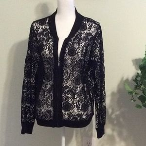❤️Chico's black sheer lace bomber style jacket.